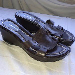 Nine West dark brown leather wedge sandals